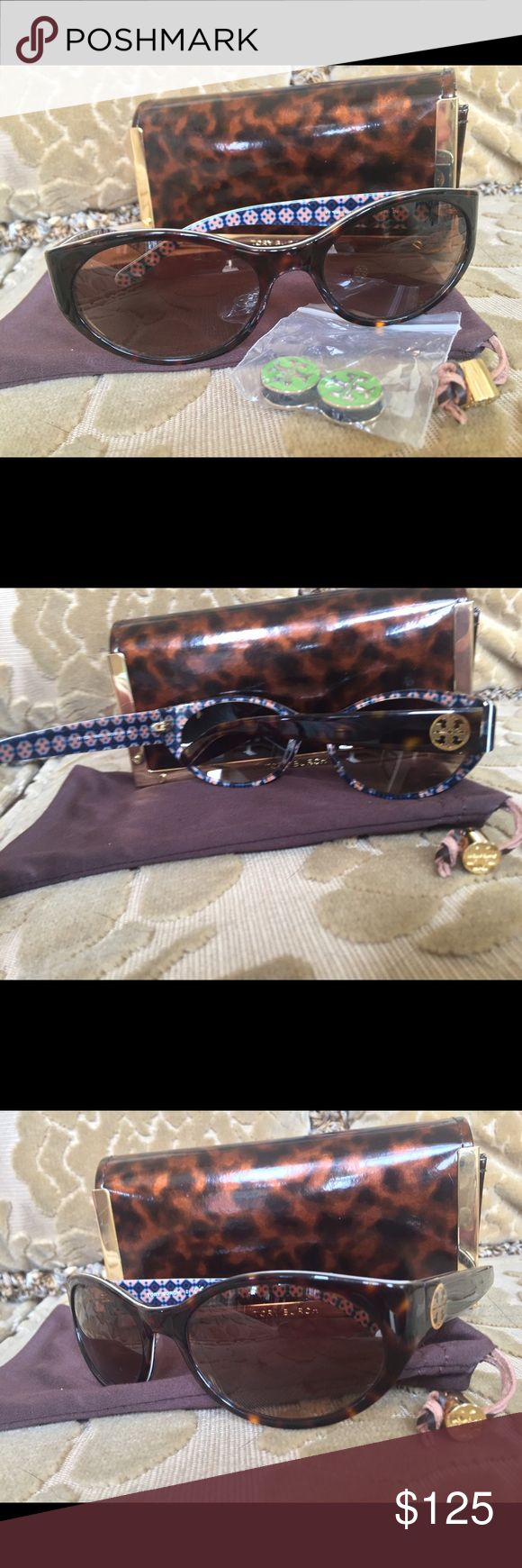 Tory Butch Sunglasses with case, cleaning pouch. Excellent condition! AUTHENTIC glasses, pouch and tortoise case! Sold out on most major online stores! Tory Burch Accessories Sunglasses