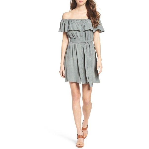 Women's Bardot Babydoll Dress ($89) ❤ liked on Polyvore featuring dresses, khaki, baby doll dress, khaki shirt dress, off-the-shoulder ruffle dresses, babydoll dress and white ruffle dress