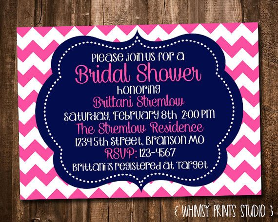 14 best invitations images on pinterest bachelorette party invites bridal shower invitation coral navy blue chevron printable shower invite no filmwisefo