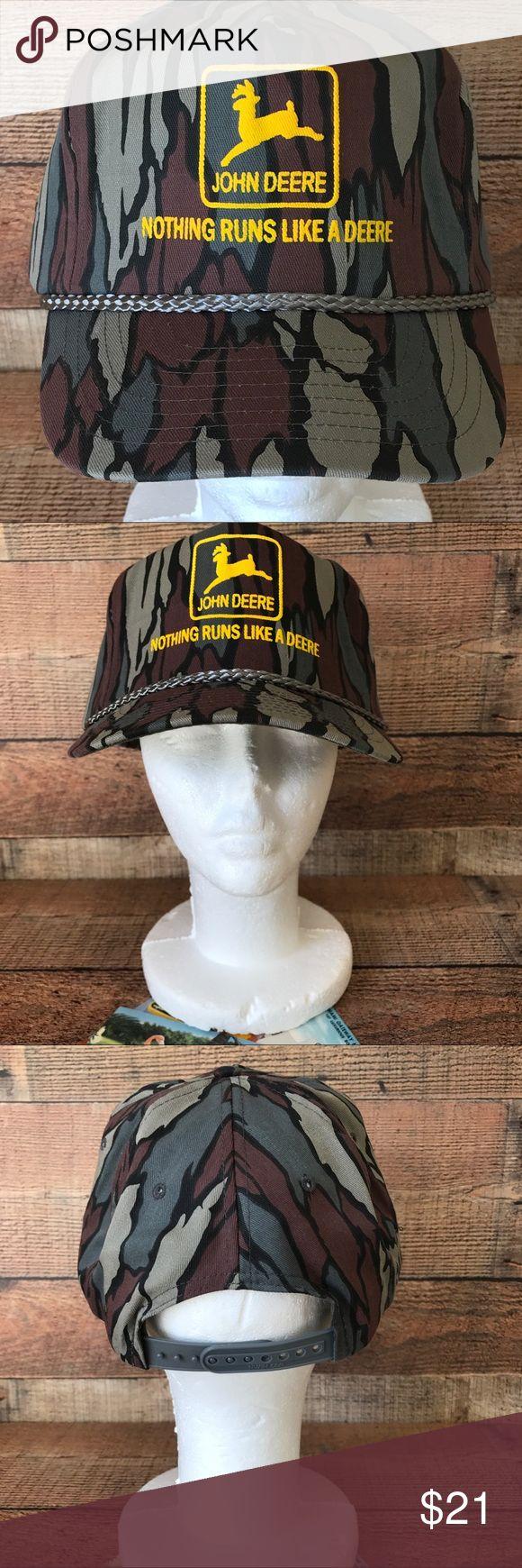 John Deere Camo Trucker SnapBack Hat Excellent Condition John Deere Accessories Hats