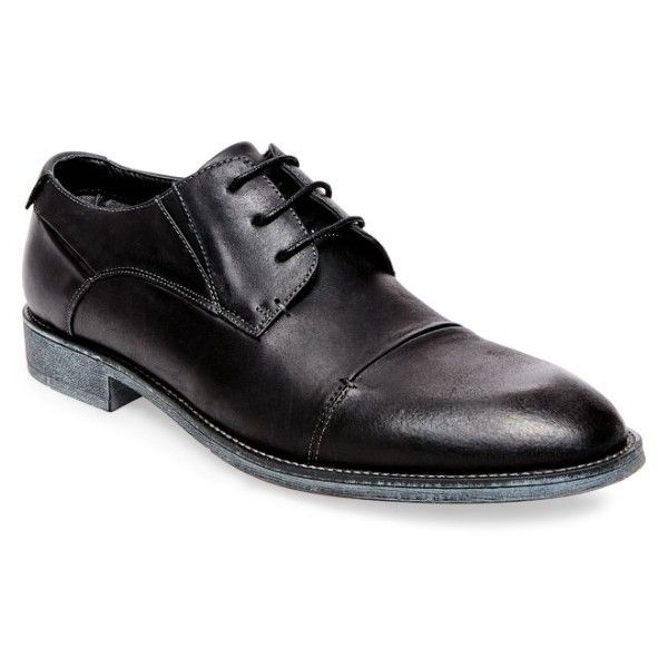 Men's Steve Madden Quantim Cap Toe Derby (€77) ❤ liked on Polyvore featuring men's fashion, men's shoes, men's oxfords, black, mens derby shoes, mens black cap toe dress shoes, mens shoes, mens black shoes and mens black derby shoes