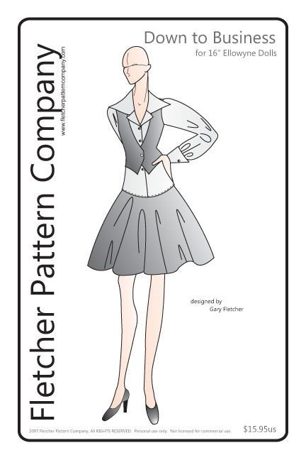 Down to Business, the pattern features a short skirt with yoke, wide collared shirt and a vest.