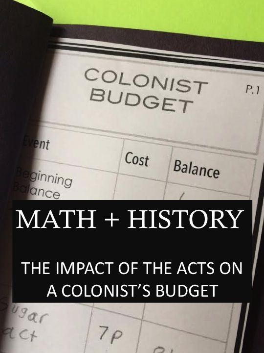 Cross-curricular connections made easy when students become colonists and find out how taxes impact their budget.
