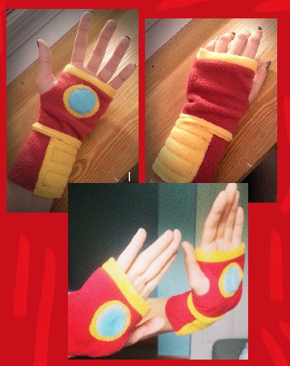 The Original Fleece Iron Man Fingerless Gloves by KaylasCraftShop