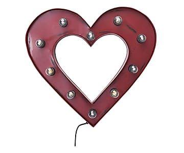 Elemento luminoso da parete in acciaio Heart, 65x60x10 cm