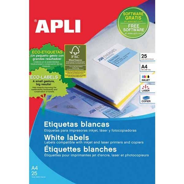 Comprar Etiquetas blancas con cantos rectos 48,5 x 25.4 Apli 12925 #adhesivo  #business #etiquetas #blancas #material #empresa #comercio #comercial #cantosrectos