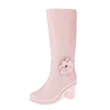 Gummi Kvinners Chunky Heel Regn Boot Knee høye støvler (flere farger) – NOK kr. 165