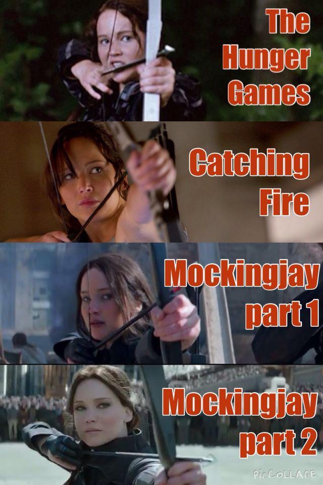 Evolution of Katniss Everdeen shooting an arrow through all 4 films...i bawling