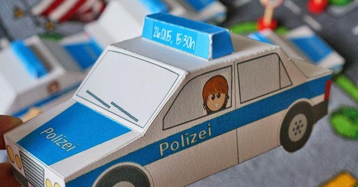Einladungen zum Polizei-Geburtstag ausdrucken und selbst basteln (Freebie)