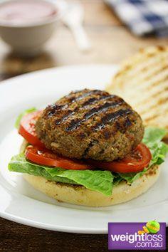 Healthy Beef Recipes: Low Fat Hamburgers. #HealthyRecipes #DietRecipes #WeightlossRecipes weightloss.com.au