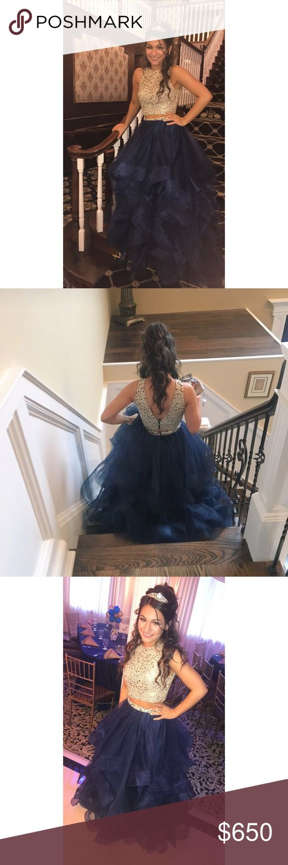 Prom / Sweet Sixteen 16 Dress Two Piece Two Piece Prom / Sweet 16 Sweet Sixteen Dress. Worn once. Navy blue and gold. Two piece. Dresses Prom
