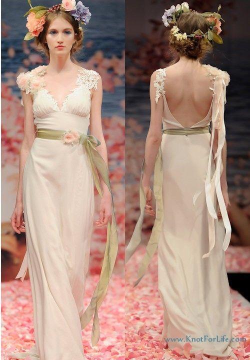 "CLAIRE PETTIBONE ""Maiden"" Victorian Floral Beads Empire Wedding Gown 10 6/8 #CLAIRE PETTIBONE"