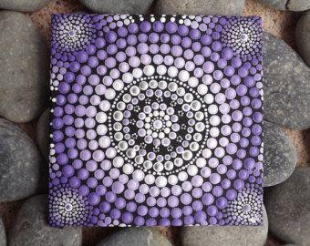 Purple Aboriginal Dot Art Painting, by Biripi Artist Raechel Saunders, Pastel Sunset design, Authentic Australian Gift, purple decor