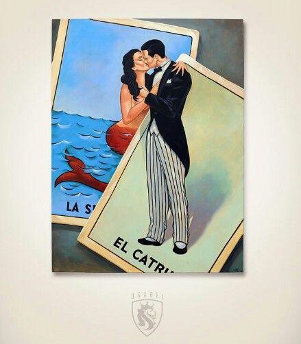 El Catrin La Sirena Loteria Tattoo Flash by OG Abel