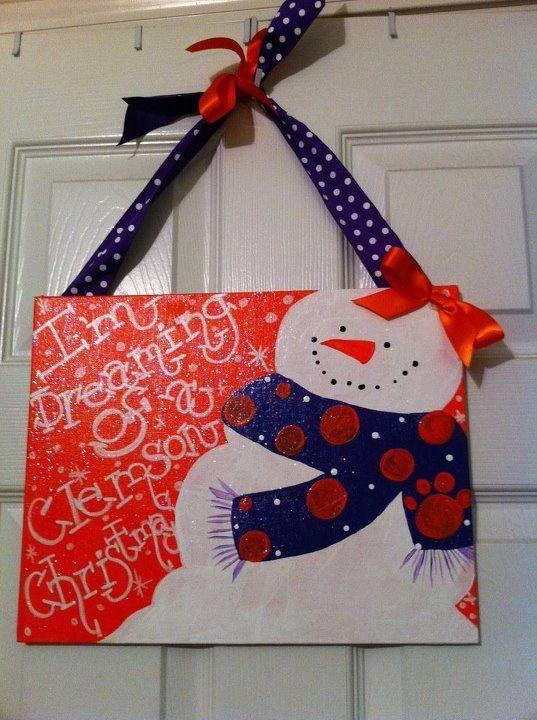 Im Dreaming of a Clemson Christmas Snowman by JenIsSoCrafty, $25.00
