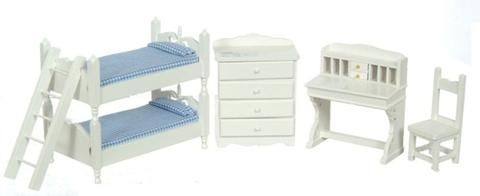 1 Inch Scale Dollhouse Bunk Beds Set