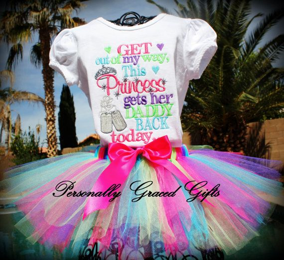 Military Welcome Home Daddy:Get Out of My Way This Princess Gets Her Daddy Back Today with Dog tags Embroidered Shirt or Bodysuit With TUTU by PersonallyGraced, $46.00
