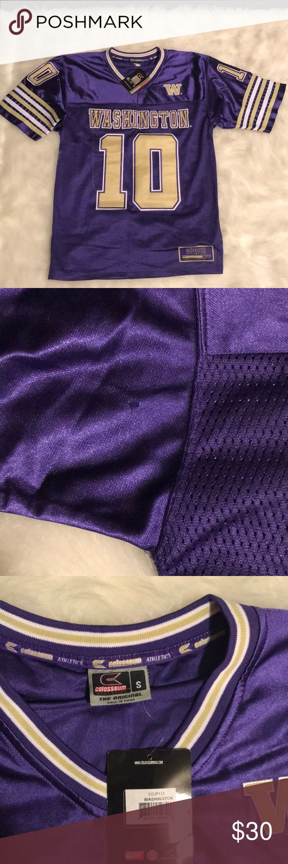 NWT UW Huskies Football Jersey S Brand new university of Washington huskies football jersey, #10. Never worn, but there is a tiny hole in the left sleeve, please see photo. This jersey must be unisex, because it fits LARGE! Tops Tees - Short Sleeve