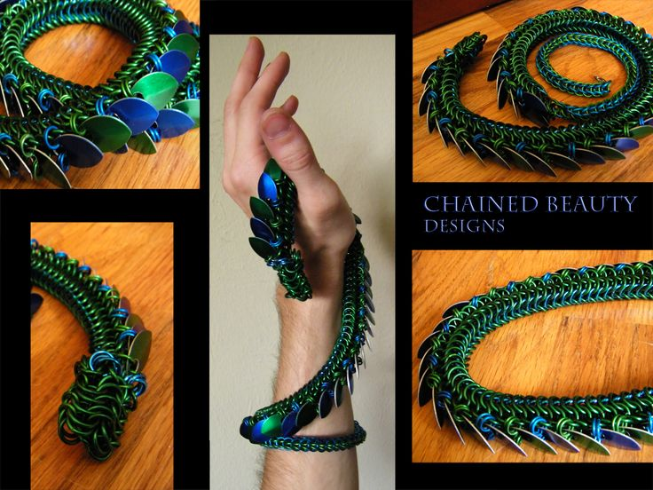 Would make an awesome bracelet / necklace. Chainmail Dragon by ChainedBeauty.deviantart.com on @deviantART
