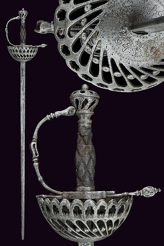 A cup-hilted sword, Spain, 17th century.