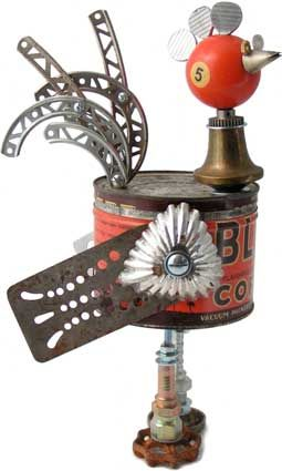 """Name: Brooster  D.O.B.: 10/23/10  Height: 14""""  Principal Components: Coffee can, pool ball, thumb screws, cake decorating tip, spatulas, tartlet tins, erector set girders, lamp part, hydraulic fittings, faucet handles"""