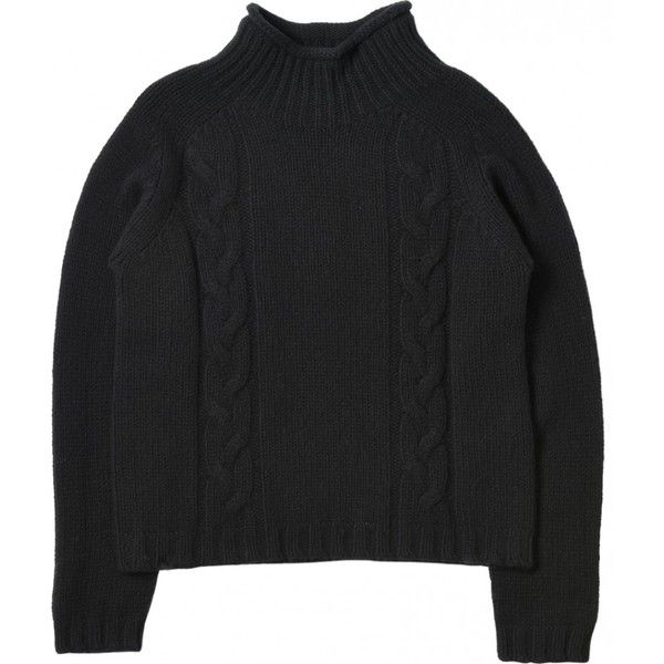 CABLE ROLL NECK JUMPER ($355) ❤ liked on Polyvore featuring tops, sweaters, cable knit sweater, merino wool tops, chunky cable sweater, rollneck sweaters and chunky cable knit sweater