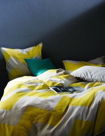 Aura by Tracie Ellis - Chevron Grande Bed Linen in Yellow