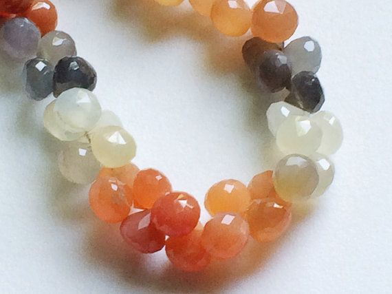Multi Moonstone Faceted Onion Beads Multi by gemsforjewels on Etsy