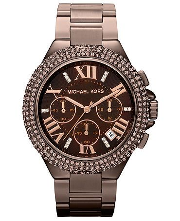 Michael Kors Watch, Women's Chronograph Camille Espresso Tone Stainless Steel