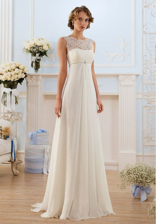 Elegant Scoop Neck White Chiffon Beach Wedding Dress For pregnant bride 2015 High Quality Lace Sleeves Bride Dress Custom made