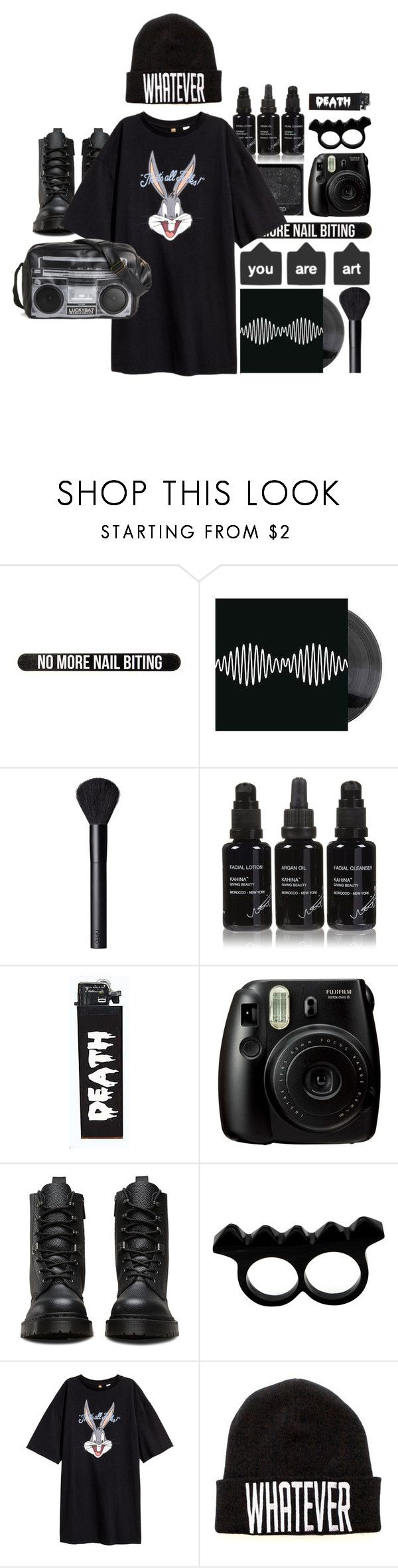 """Whatever Doc"" by olivia-pullman on Polyvore featuring Bershka, NARS Cosmetics, Kahina Giving Beauty, Fujifilm, Dr. Martens, L'Artisan Créateur, Killstar, Melie Bianco, tshirtdresses and 60secondstyle"