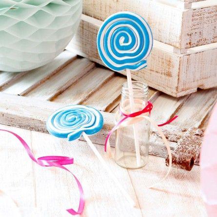 Spiral Lolly - türkis-weiß