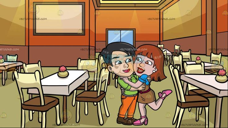 A Lesbian Couple In Love At A Restaurant Dining Room :  A woman with short black hair wearing a pair of round gold earrings apple green shirt gray pants orange shoes brown shoes smirks while hugging her girlfriend with reddish brown hair wearing a pair of round white earrings blue blouse under a brown sleeveless dress with dark red belt pink heels. Set in inside a fine dining restaurant with rectangular white tables pink flower in a light green vase on top four cream chairs with brown…
