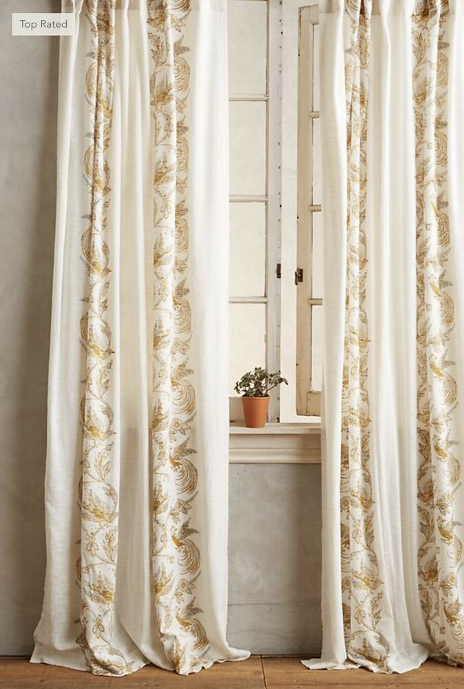 New Anthropologie Ivory Gold Bird Scrolled 1 Single Curtain Panel