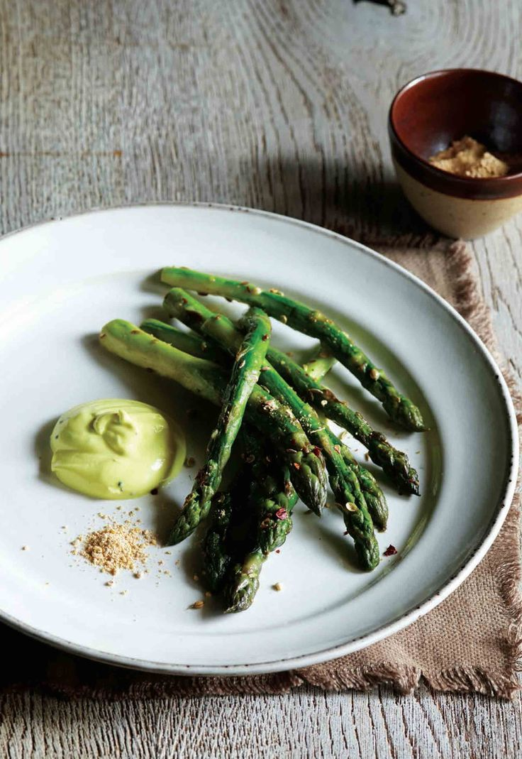 8 best new ways with asparagus images on pinterest asparagus asparagus with curried yoghurt and gunpowder recipe from spice at home by vivek singh cooked ccuart Image collections