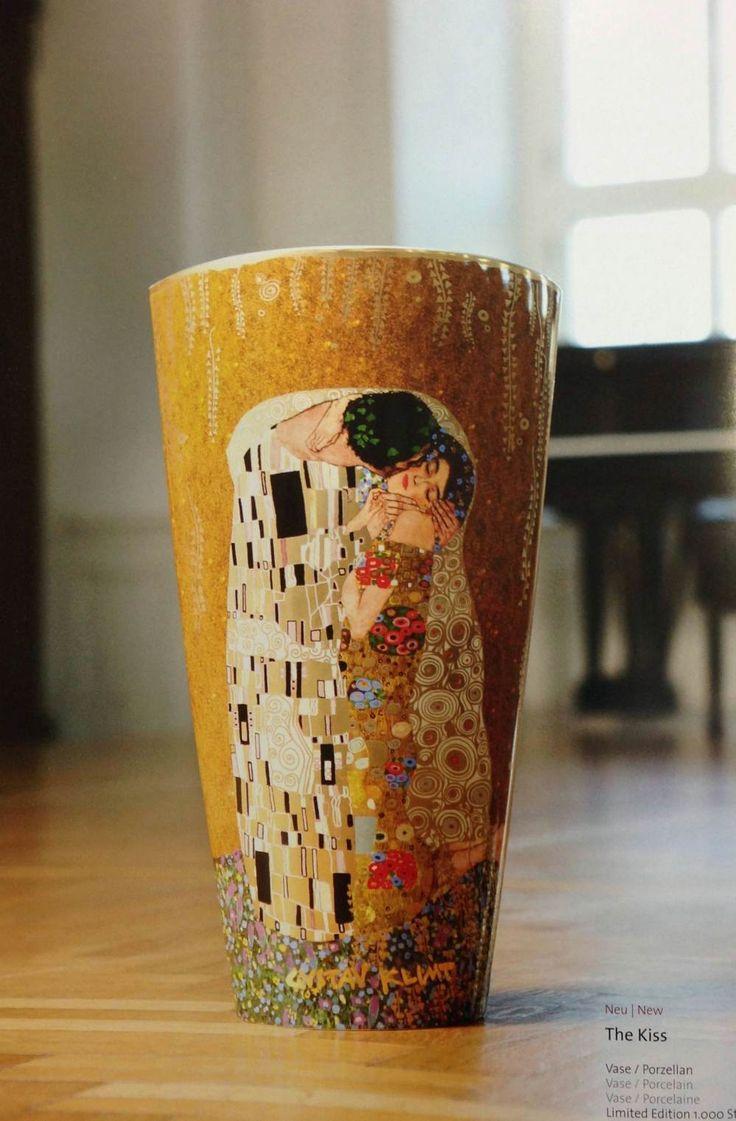 """Goegel: jarrón de porcelana alto del cuadro """"El beso"""" Klimt"""