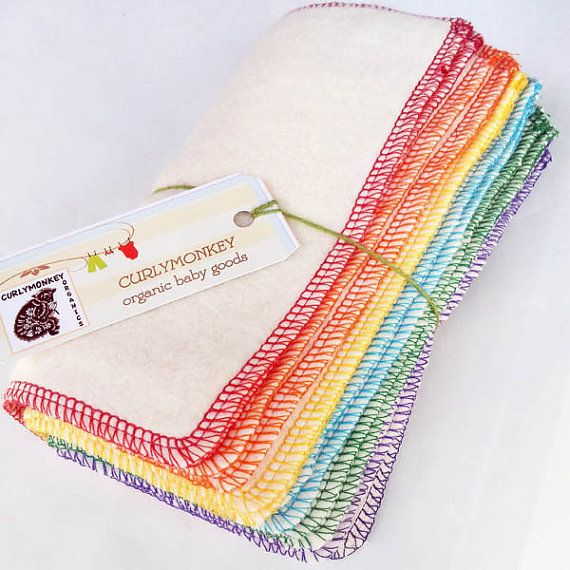 organic baby wipes, organic washcloths, cloth diaper wipes: hemp cotton fleece 24 pk Rainbow on Etsy, $43.80
