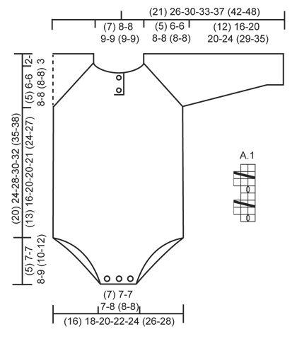 """Babygrow DROPS em canelado/barra, tricotado de cima para baixo, em """"Baby Merino"""". Tamanhos prematuro a 4 anos. ~ DROPS Design"""