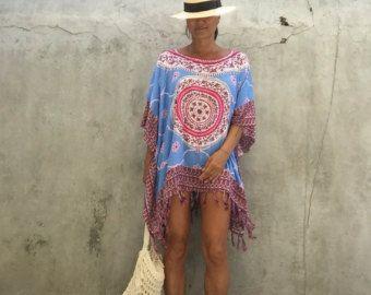 Bohemien, poncho di spiaggia, spiaggia boho festival, estate kimono plus dimensioni, grandi taglie, hippy, zingara, spiaggia copertina, usura resort