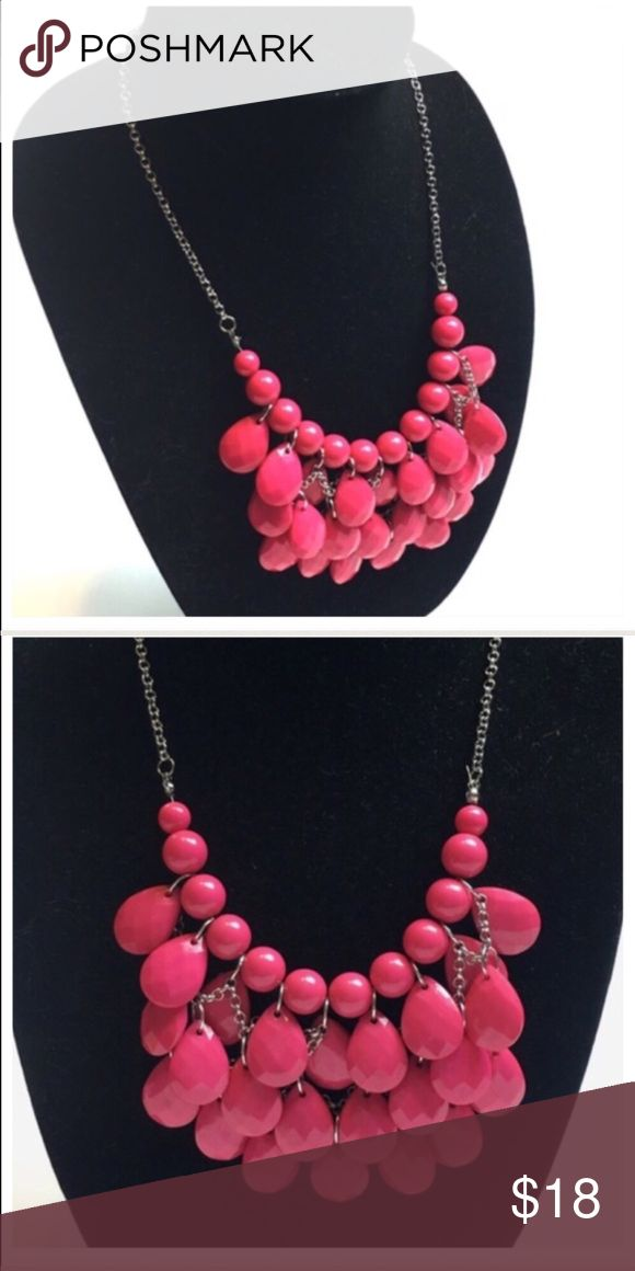 "Bright Pink Statement Necklace Bright Pink Statement Necklace. Add some color to your outfit with this bold pink statement necklace. 18"" in length   🔺Questions? Please ask.  🔺I want your Poshmark experience to be easy & enjoyable. 🔺Thank you for shopping at Posh Mishmosh. Jewelry Necklaces"
