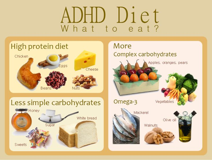ADHD diet. Eat lots of protein, complex carbs, Omega-3 foods.  ...   Can't hurt, anyway.