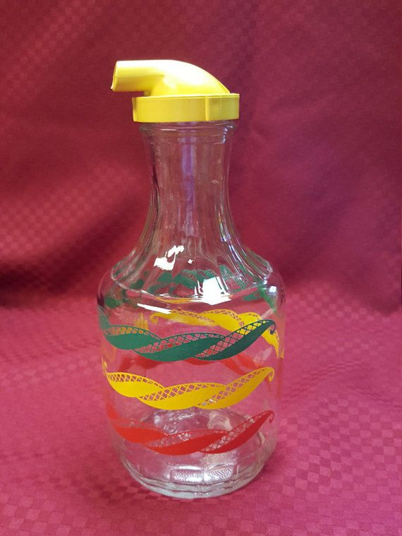 1950s JUICE Bottle Carafe Green Red Yellow By