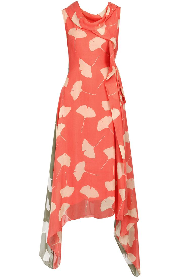Peach and green leaf print cowl neck dress available only at Pernia's Pop-Up Shop.