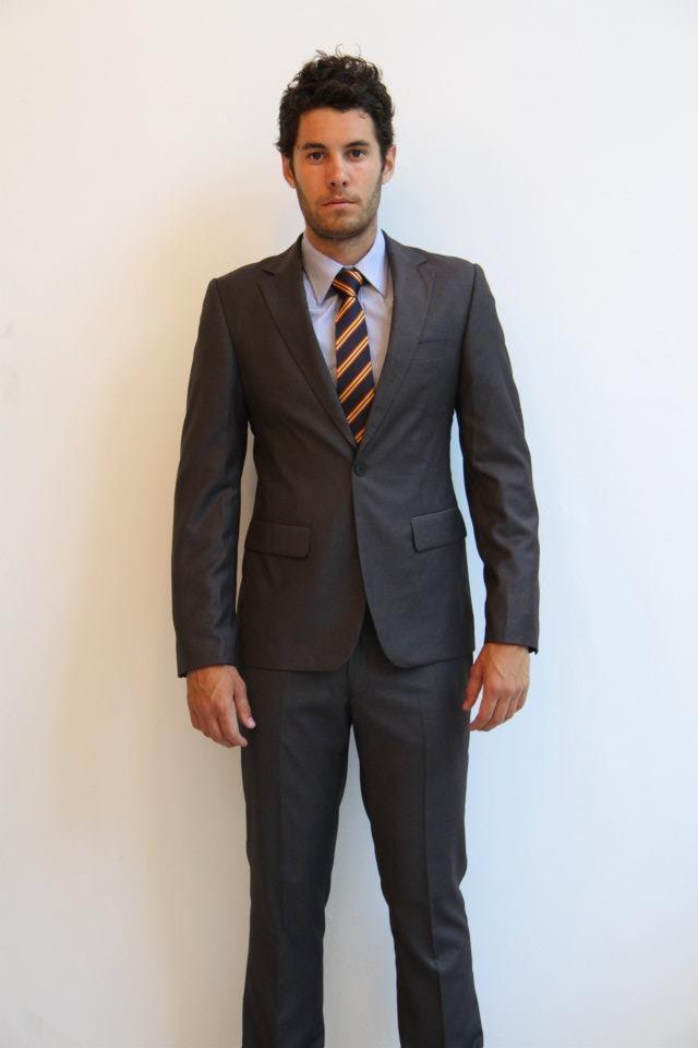 SuitCo slim shirt- $79  SuitCo School boy slim tie- $49  Charcoal Pinpoint SuitCo slim suit- $399