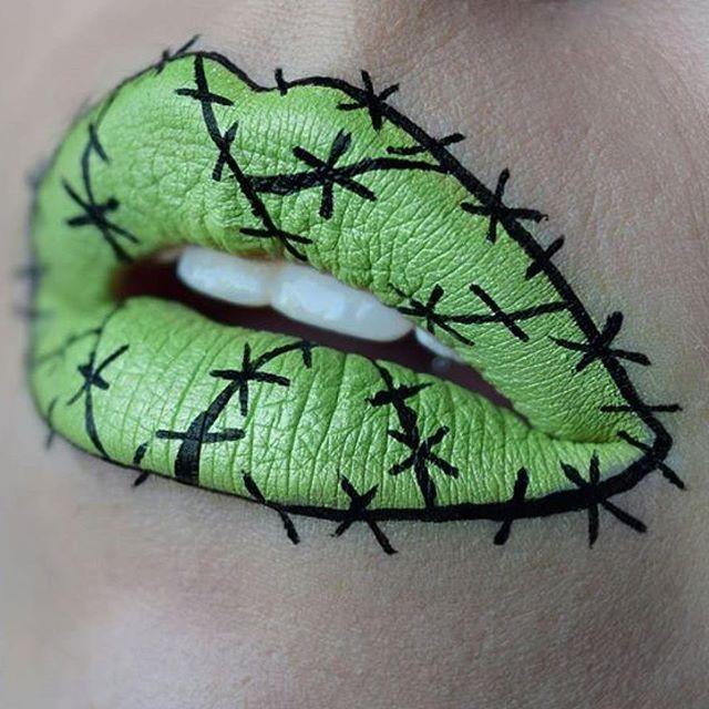 How cute are these lips!! Reminds us of Frankenstein  Eyeshadow: Xenon Photo via @april_christinaa #meltcosmetics #meltxenon