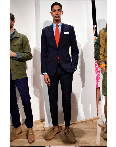 """J.Crew  """"The over-dyed navy seersucker suit with sea blue shirt and coral cotton tie. A must have suit and look for Spring 2013.""""—Ted Stafford, GQ Fashion Market Director"""