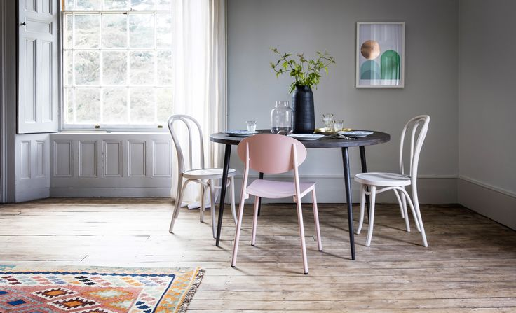 Lola Dining Table with Donatella Chair in Pink, Toulouse Chairs in Grey