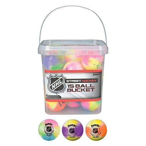 Franklin Sports NHL Street Hockey Ball Bucket (15-Piece), Assorted Colors - http://hockeyvideocenter.com/franklin-sports-nhl-street-hockey-ball-bucket-15-piece-assorted-colors/