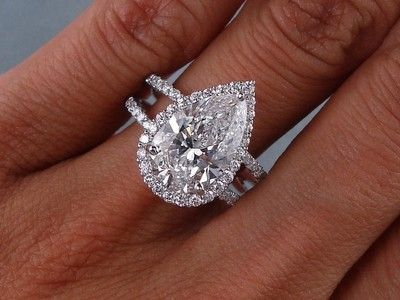 3 81 Carats Ct TW Pear Shape Diamond Engagement Ring D SI1 | eBay