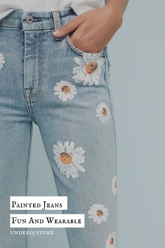 1eadf92cde3 Painting flowers of old jeans will never be a win. It's such a relaxing  past time, and when you're done, you have a cute new article.